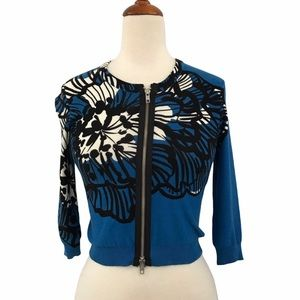 Tracy Reese Blue Floral Zip Up Cardigan